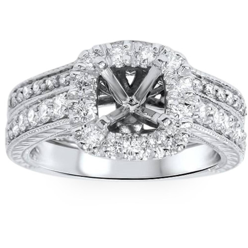 3/4ct Cushion Cut Halo Diamond Vintage Engagement Ring Setting Set (G/H, SI1-SI2)