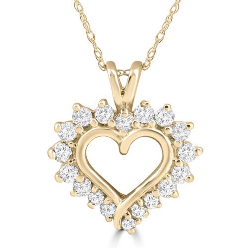 1/2 Carat Genuine Diamond Heart Pendant 14K Yellow Gold 18mm Tall (G/H, I1)
