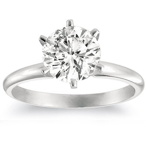 1 1/4ct Solitaire Diamond Engagement Ring 14K White Gold (G/H, I2-I3)