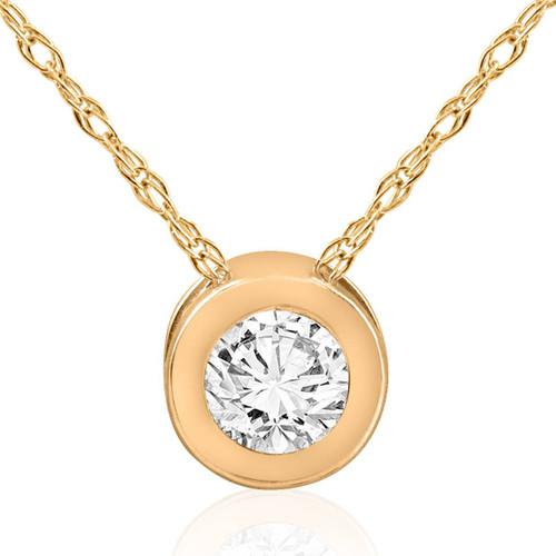 14K Yellow Gold 3/4ct Round Bezel Real Diamond Pendant (G/H, I1)