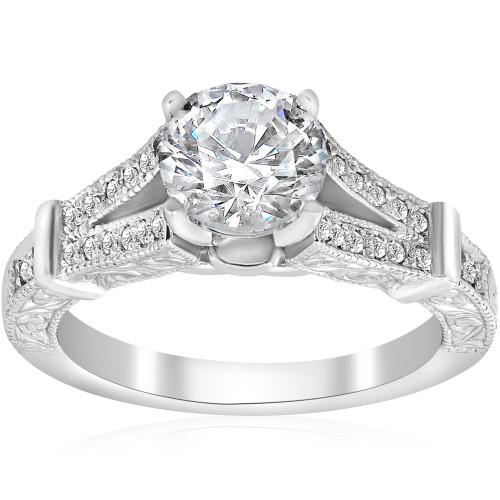1 3/4ct Vintage Diamond Engagement Ring Split Shank 14k White Gold (G/H, I1)