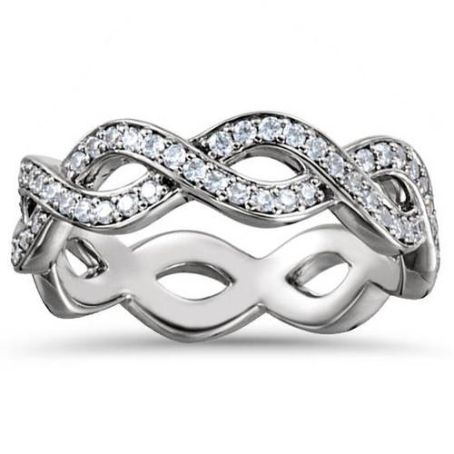 1/2ct Platinum SI1 Diamond Infinity Eternity Ring Size 7 (G, SI1)