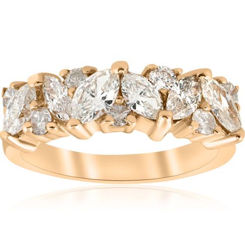 1 1/2ct Fancy Marquise Diamond Womens Wedding Anniversary 14k Yellow Gold (G/H, SI)