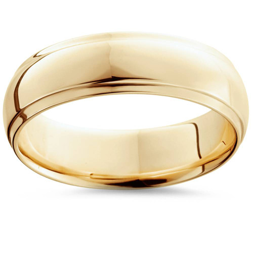 Step Cut Polished Wedding Band 14K Yellow Gold