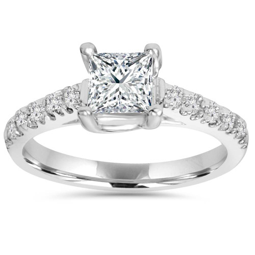 1 1/4ct Cathedral Pave Diamond Ring 14K White Gold (H, I1)