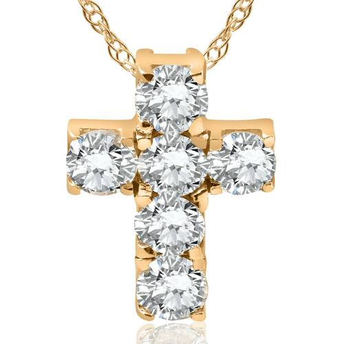 "1ct Diamond Cross Pendant 14K Yellow Gold 1/2"" Tall (G, I2)"