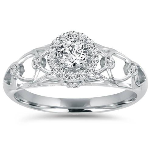 1/2CT Vintage Halo Round Diamond Engagement Ring 14K White Gold (H/I, I1-I2)