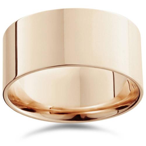 10mm Flat High Polished Wedding Band 14K Rose Gold