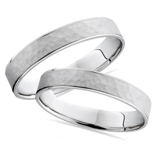 Matching Hammered Wedding Ring Band White Gold Set 14K