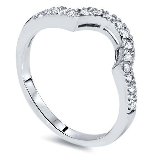 1/3ct Diamond Curved Notched Wedding Ring 14K White Gold (G/H, I1)