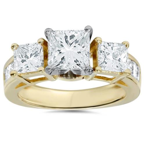 2ct Princess Cut Diamond 3 stone Engagement Ring 14K Yellow Gold (I/J, I1-I2)