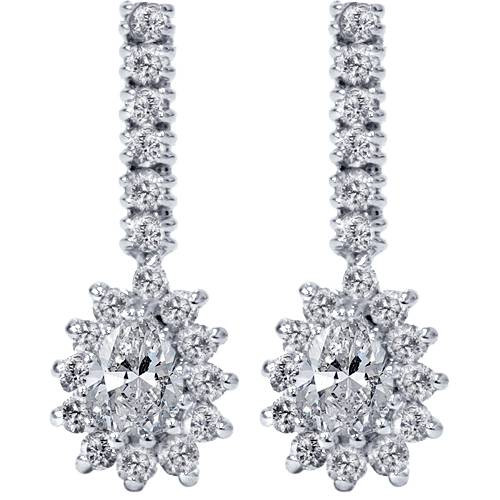 1ct Pear Shape Diamond Halo Earrings 14K White Gold (G/H, SI2)