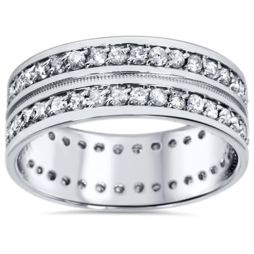 1 1/2ct Mens Diamond Eternity Ring Milgrain Accent 10K White Gold (H/I, I2)