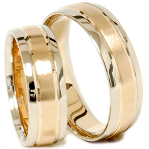 Gold Matching His Hers Two Tone Wedding Ring Band Set