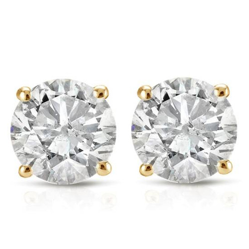 1 1/5CT Diamond Studs 14K White or Yellow Gold (J-K, I2-I3)