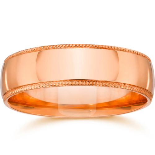 5mm Milgrain 14K Rose Gold Polished Wedding Band