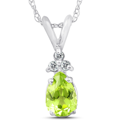 "1/2ct Pear Peridot & Diamond Solitaire Pendant 14K White Gold With 18"" Chain (G, I2-I3)"