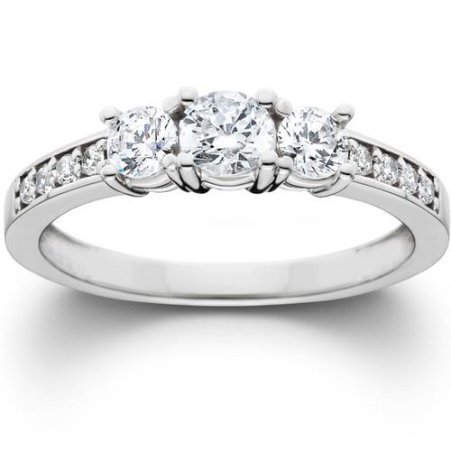 1ct 3 stone ring 14k white gold (G/H, I1)