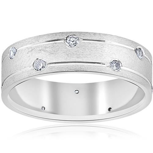 Mens 14k White Gold Diamond Comfort Fit Wedding Ring Band 6MM (G/H, SI)