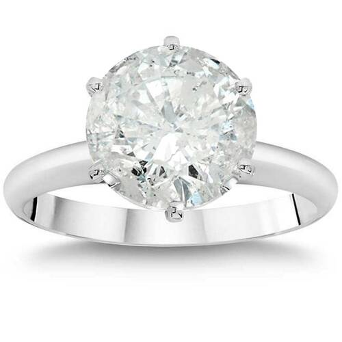 3ct Enhanced Round Diamond Solitaire Engagement Ring 14K White Gold (I/J, I2-I3)