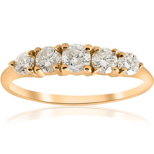 1 ct TDW 5-Stone Graduated Diamond Anniversary Engagement Ring 14k Yellow Gold (G/H, I1)