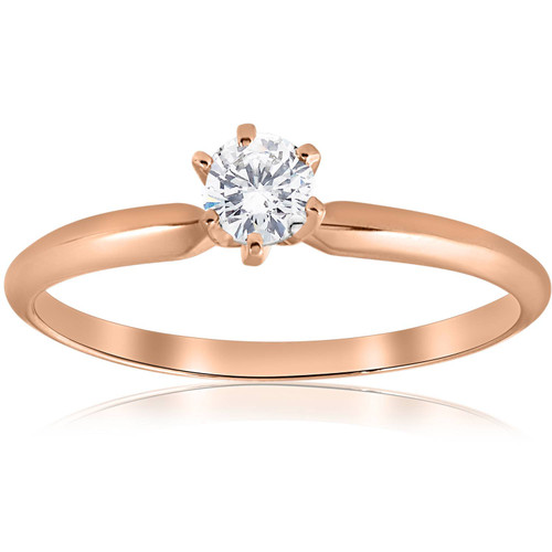 1/4 ct Solitaire Diamond Engagement Ring 14k Rose Gold (G/H, I1)