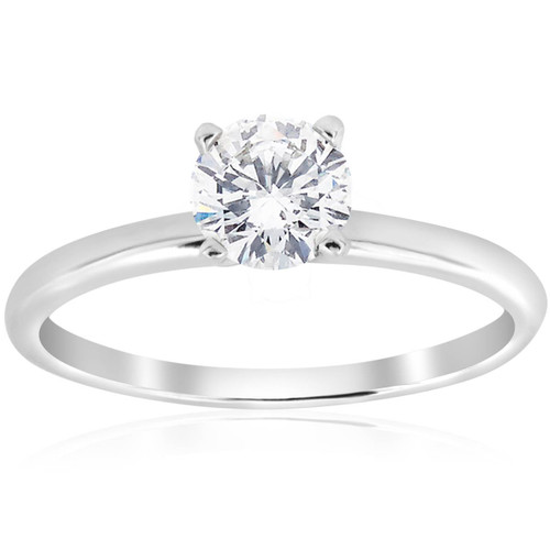 3/4ct Solitaire 4-Prong Diamond Engagement Ring 14k White Gold (G/H, I1)