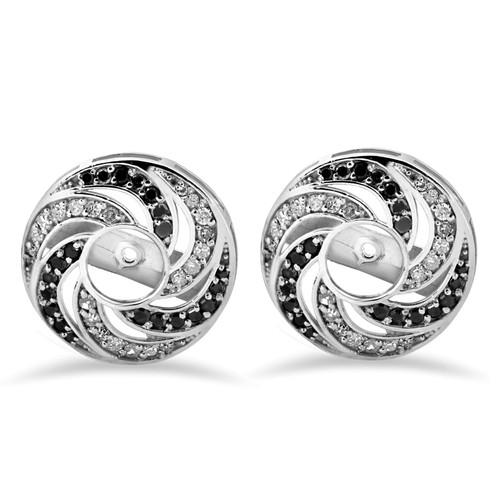 1/2ct 14K White Gold Black & White Diamond Spiral Earring Jackets (up to 4mm) (H-I, I3)