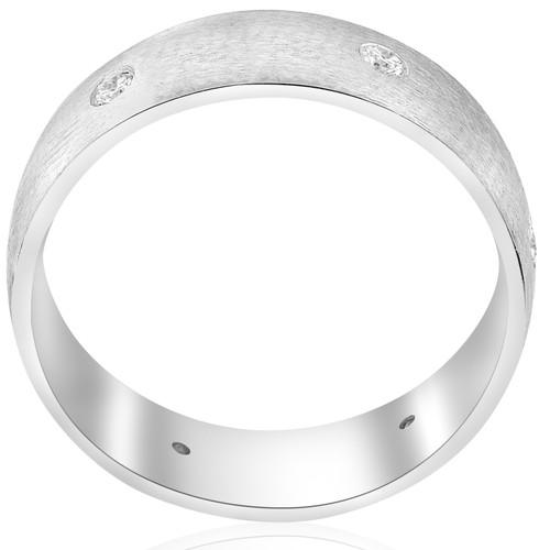 10k White Gold Diamond Brushed Wedding Ring (G/H, I1)
