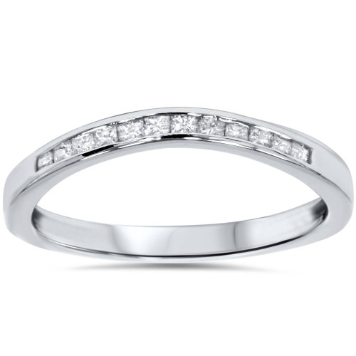 1/4ct Princess Cut Diamond Curved Guard Wedding Ring Enhancer 14k White Gold (G/H, I2-I3)