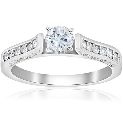 1/2ct Antique Cathedral Diamond Engagement Ring 14K White Gold (G/H, I1)