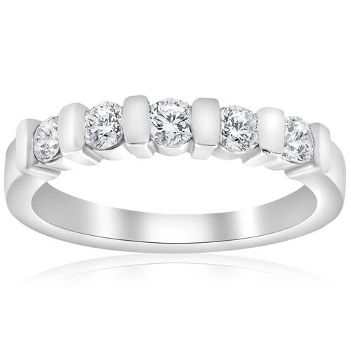 1/2ct 5-Stone Diamond Bar Set Wedding 14k White Gold Bridal Ring (G/H, I1)