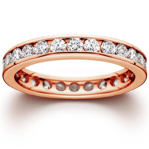 1 1/2ct Channel Set Diamond Eternity Ring 14K Rose Gold (H/I, I1-I2)