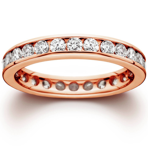 1 1/2ct Channel Set Diamond Eternity Ring 14K Rose Gold (H/I, I1-I2)