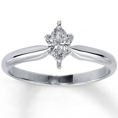 1/4ct Solitaire Marquise Diamond Engagement Ring 14K White Gold (G, I1)