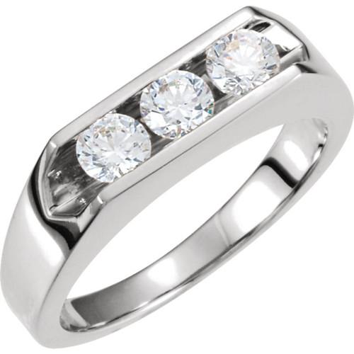 1 1/2ct Diamond Three Stone Mens Wedding Ring in 14k White or Yellow Gold (H, I1)