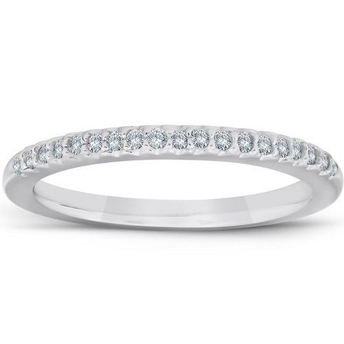 1/4ct Diamond Wedding Ring 14K White Gold Pave French Set (H, I1)