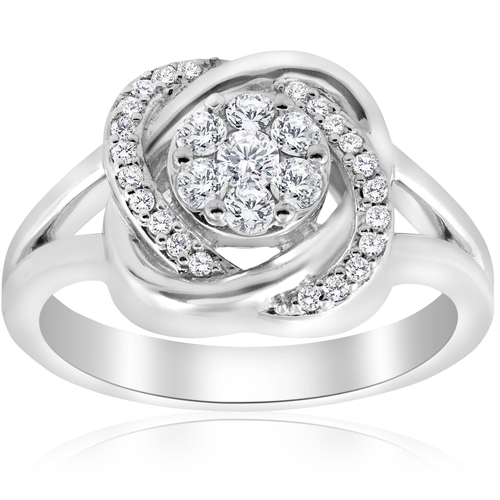 1/2 ct Diamond Halo Crossover Engagement Ring 14k White Gold (K-L,I2-I3) (H-I, I1)
