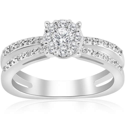 1/2ct Diamond Halo Split Shank Round Cut Engagement Ring 14k White Gold (H/I, I1-I2)