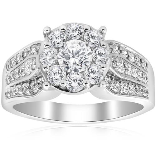 1 1/2ct Diamond Halo Engagement Ring Wide 3-Row Band 10K White Gold (H/I, I1-I2)