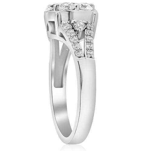 1 ct Diamond Halo Engagement Ring 10k White Gold Round Brilliant Cut Pave (H/I, I1-I2)
