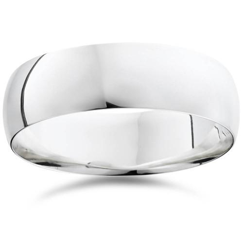 14K White Gold 7mm Plain Mens Wedding Band Ring