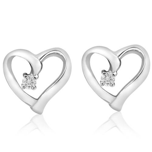 Diamond Heart Shape Earrings 14K Gold