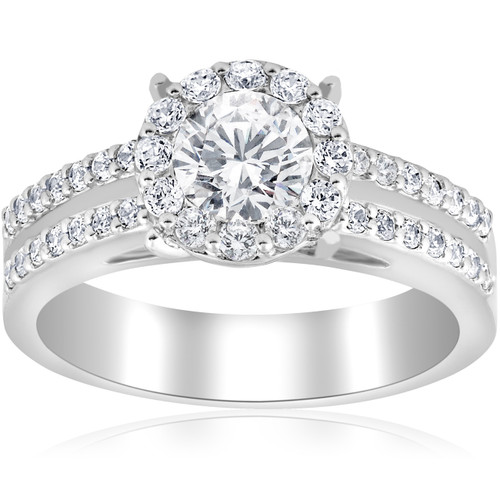 1 1/2ct Pave Round Cut Halo Diamond Engagement Ring 14k White Gold Double Row (I/J, I1-I2)