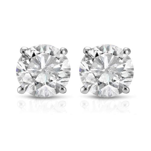 1 Ct TDW Round Cut 14K White Gold Diamond Studs Earrings IGI Certified (I-J, I2-I3)