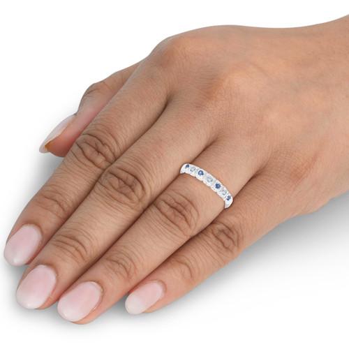 1/3ct Blue Sapphire & Diamond Wedding Ring Stackable Band White Gold 10k (H/I, I1-I2)