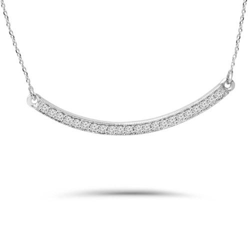 1/2CT Diamond Curved Bar Pendant 14K White Gold (G/H, SI2-I1)