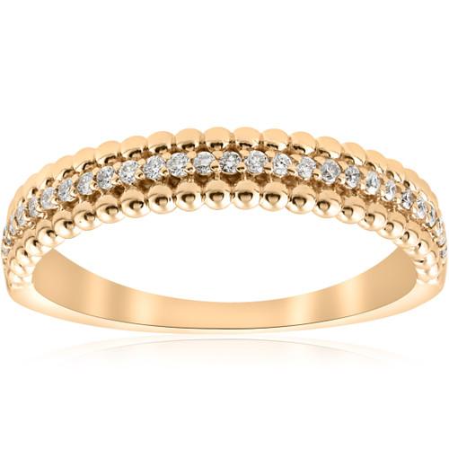 14K Yellow 1/6 CTW Diamond Beaded Wedding Ring (H/I, I1-I2)