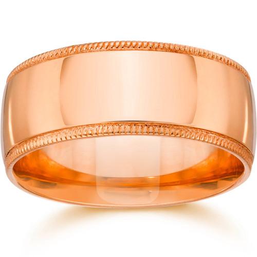 10mm Milgrain 14K Rose Gold Polished Wedding Band