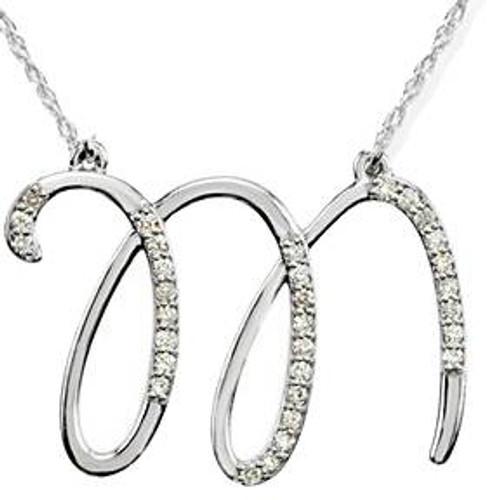 "1/4ct Diamond ""M"" Initial Pendant 18"" Necklace 14K White Gold (G/H, I2)"